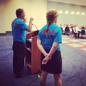 Arlyn Lawrence and Dennis Trittin speaking to high school seniors at the FCCLA National Conference in Washington, DC, July 2015.